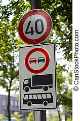 german speed limit and traffic information signs