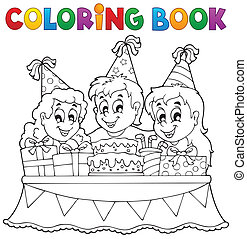 Coloring book kids party theme 1 - eps10 vector...