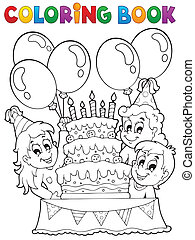 Coloring book kids party theme 2 - eps10 vector illustration...