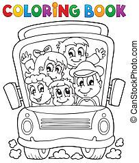 Coloring book school bus theme 1 - eps10 vector...