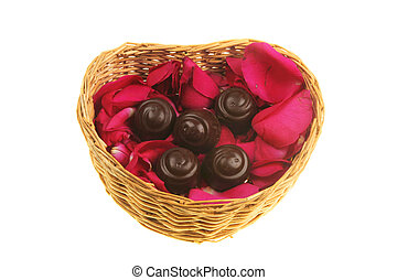 Rose petals and chocolate