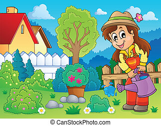 Image with gardener theme 2 - eps10 vector illustration.