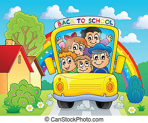Image with school bus theme 4 - eps10 vector illustration.