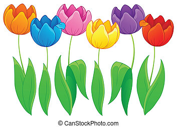 Image with tulip flower theme 2 - eps10 vector illustration.