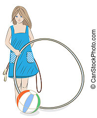 Girl with hula hoop, beach ball and skipping rope -...