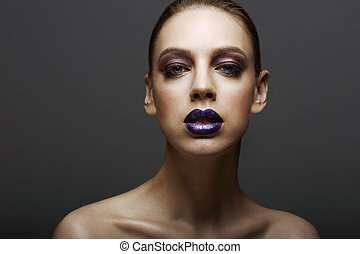 Glam Classy Ambitious Woman with Glossy Bright Makeup...