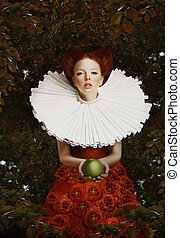 Vintage. Stylized Red Hair Woman in Retro Jabot with Green...