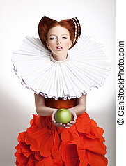 Retro Style. Portrait of Styled Redhead Woman Duchess in...