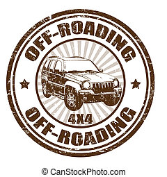 Off-roading stamp - Grunge rubber stamp with the text...