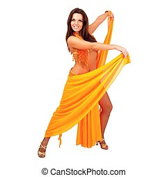 Belly dancer. Attractive girl dances east dance. Orange...