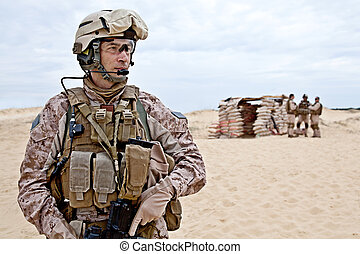 blockpost - US marines in the desert near the blockpost