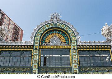 Facade of Abando railway station in Bilbao Spain