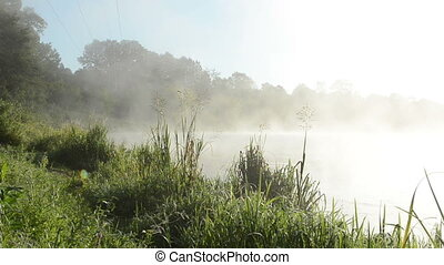 river water fog mist - morning misty fog rise from flowing...