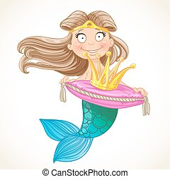 Cute mermaid holding a crown on the pillow