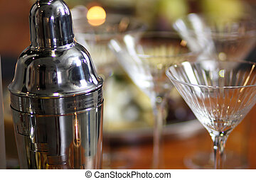 Martini bar with glasses