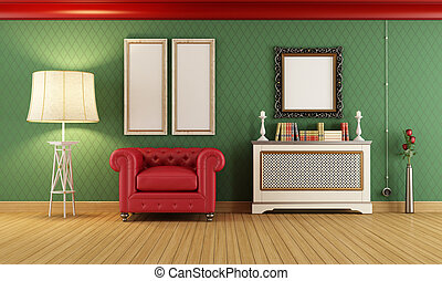 Vintage room with red classic armchair - Vintage room with...