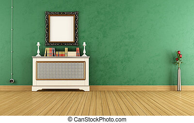 Empty Green vintage living room - Green vintage living room...