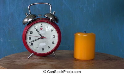 clock arrow motion and candle flame Time concept