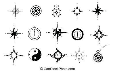 Compass Clipart - Set of 15 black and white compasses in...