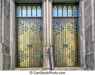 Church Doors - Wooden church doors with beautiful iron work...