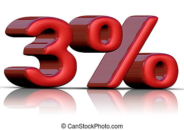 3 % - 3% discount icon on a white background