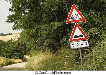 VARNINGAR, underteckna, väg, Toskana