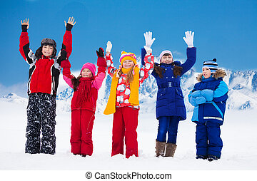 Friends happy on snow day - Group of five super happy kids...