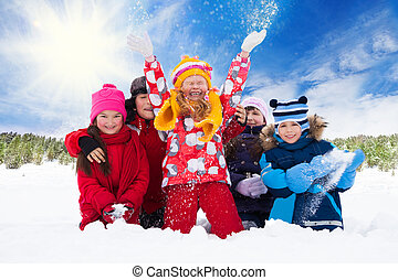 Group of kids and fun on snow day - Group of five happy...