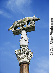 Romulus and Remus. - Sculpture of wolf nursing Romulus and...