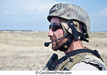 SEAL team member - Bearded SEAL team member in the desert