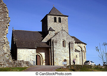 The mediaeval church at Cornil, near Brive-la-Gaillarde,...