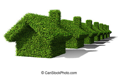 green houses ecology isolated on withe background
