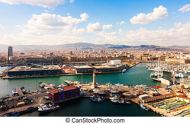 birdview Port Vell of Barcelona - birdview Port Vell of...
