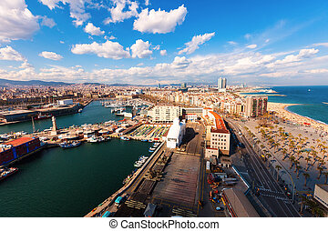 Top view of Port Vell and Barceloneta - Top view of Port...