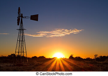 Lovely sunset in Kalahari with windmill and grass - Lovely...
