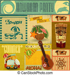 Hawaii Vintage Card. Set of stickers for Hawaiian Party in...
