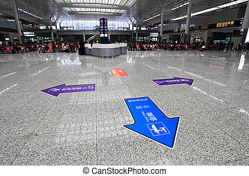 modern train station waiting hall in shanghai