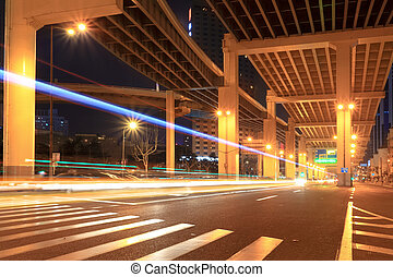 night traffic under the viaduct
