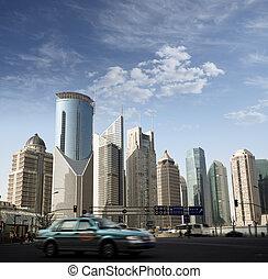 modern street scenes in shanghai