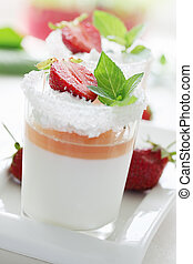 strawberries with sugar and cream - cream jelly with...