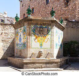 fountain at Barri Gotic Barcelona - Old fountain at Barri...