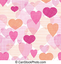 Textured fabric hearts seamless pattern background - vector...