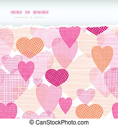 Textured fabric hearts torn horizontal seamless background -...