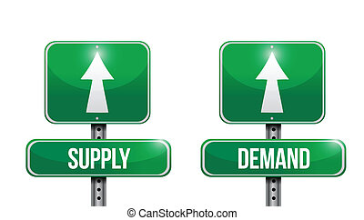 supply and demand road sign illustrations design over white