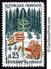Postage stamp France 1965 Planting Seedling - FRANCE - CIRCA...