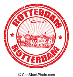 Rotterdam stamp - Red grunge rubber stamp with the name of...