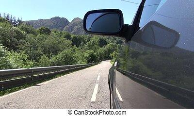 side car driving rural road