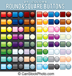 Multicolored Square and Round Buttons. - Set of Colored Web...