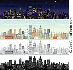 City Landscape at Day and Night Time.