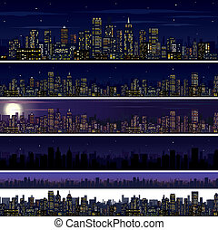 City Skyline Collection of Night City Images - City Skyline...
